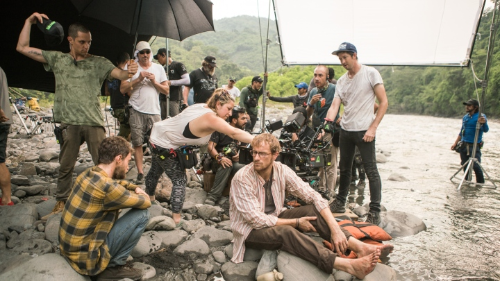 Cinematographer Stefan Duscio (Navy Cap) with cast and crew while filming 'Jungle' in Columbia - PHOTO Supplied