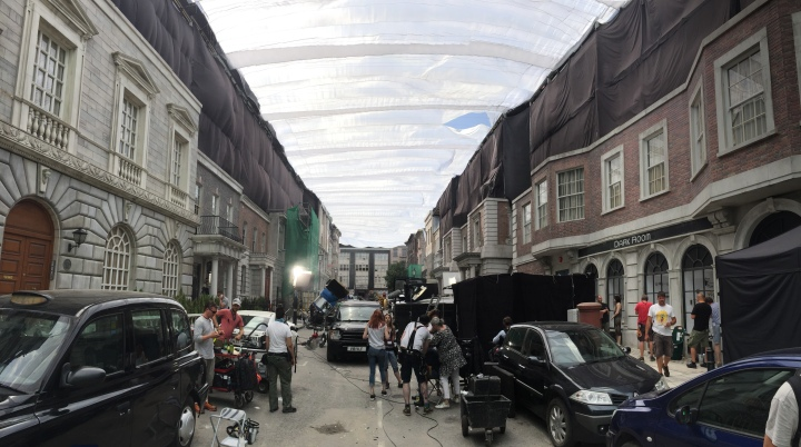Filming 'The Hitman's Bodyguard' in Sofia, Bulgaria. Full silk canopy was made to match exterior shots done in London - PHOTO Supplied