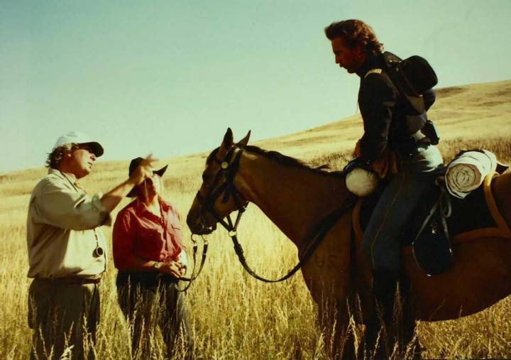 Semler, his daughter Ingrid and Kevin Costner shooting 'Dances With Wolves_ in 1989 - PHOTO Ben Glass