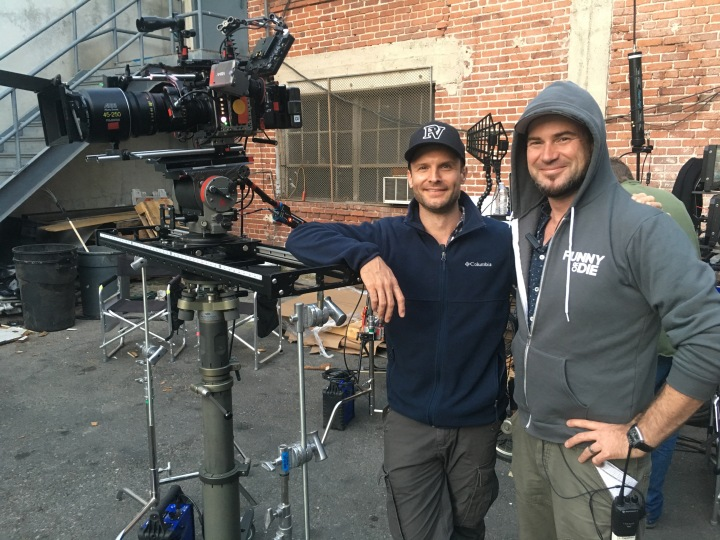 A-Camer Operator Damian Church with Cinematographer Judd Overton on the set of 'No Activity' - PHOTO Supplied
